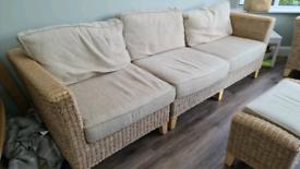 Beige rattan sofa set for indoors / outdoors