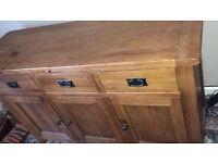 Heavy oak side board