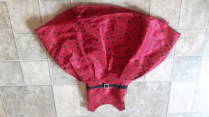 Red with black polka dot dress
