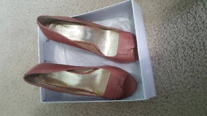 Nine West Pink/Rose Leather Open Toe Heels