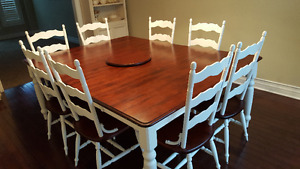 Solid Mahogany-Cherrywood Dining/Kitchen Table and Chairs
