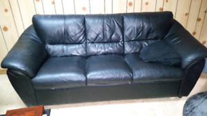 Selling black leather couch