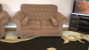BROWN COUCHES WITH STUDDED DIAMONDS FOR SALE