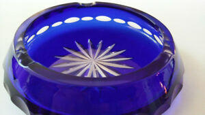 Vintage Cobalt Blue Cut To Clear Crystal Ashtray