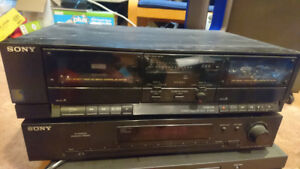 Sony double cassette player and an AM/FM tuner