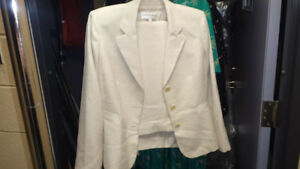 TWO PIECE SUITS BLUE PIN STRIP AND CREAM - WOMENS