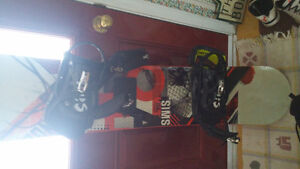 Sims 154 cm snowboard, bindings and boots
