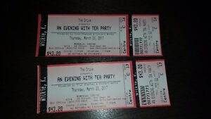 The Tea Party in Red Deer.  2 tickets in 3rd row.  March 23