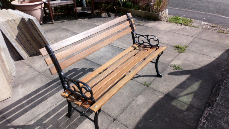 Garden Bench With Refurbished Slats Cast Iron Ends In