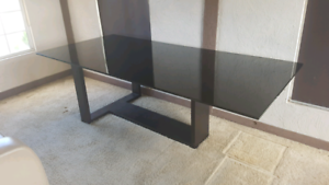 Black glass dining table 8 seater