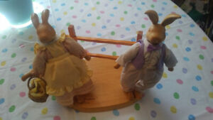 The Hopkins by Robert Raikes Carved Wooden Easter Bunny Set