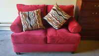 Paige Microsuede Lovely Loveseat - Red