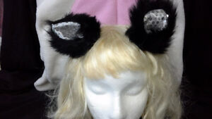 sequin / fur animal ears on clips. pink or black. hand-made.