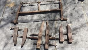 Antique tools bow saw, furniture clamps