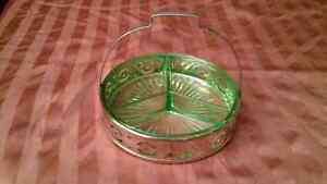 LIME GREEN GLASS VINTAGE DIVIDED DISH
