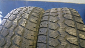 Two 245/65R17 Motomaster winter tires installed