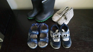 Boy shoes and rain boots. Size 12