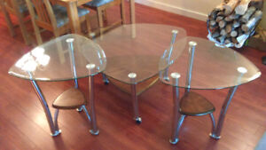 Glass Coffee and 2 Glass End Tables
