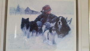 Boy with Dogs playing in Snow Art