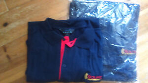 Men's Large and Extra Large-New- Blue golf shirts with logo