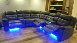 Brand new 6 seat power recliner home theater sectional  couch