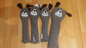 New Knitted Dog Golf Headcover Set