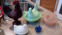 Roosters,Chickens and Birds oh my,Butter dish and shakers too