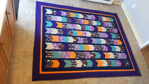 Purple, orange, navy, teal and gold OWL quilt