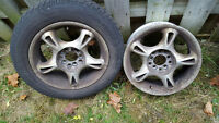 "2 - 15"" 5 star rims 5x100 and 2- 14"" steel winter rims 5x100"