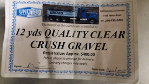 12 yards quality clear crush  gravel