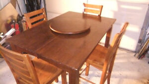 pub style table and 6 chairs with leaf and lazy susan