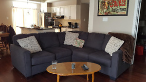 Nearly new (7 month old) beautiful charcoal grey sectional couch