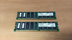 2x1GB Crucial DDR SDRAM (DDR1) 184-Pin DIMM PC2700