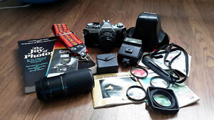 Canon AE-1 35mm SLR film Camera and accessories