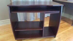 Computer desk with pull-out printer shelf