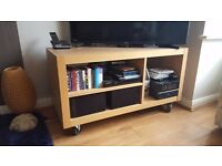 BEECH COLOURED RECTANGULAR BACKLESS TV UNIT / COFFEE TABLE / STORAGE UNIT!