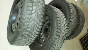 4/TOYOTA TERCEL & 4 WINTER KIA RIMS WITH WINTER TIRES