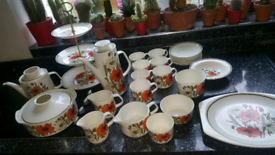 J&G MEAKIN POPPIES CAKE STAND CUPS PLATES COFFEE POT JUGS
