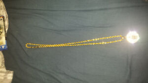 32in Gold Plated Rope Chain w/ Mother Mary Pendant
