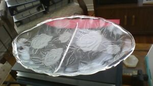 Large 2 section Oval Glass Serving Platter - 15 inches long