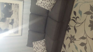 Grey/Blue pullout couch LIKE NEW
