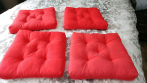 4 red patio seat cushions