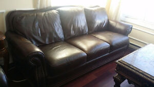 Liquidation canape divan sofa 100% cuir veritable leather couch