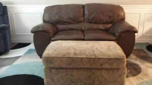 Chocolate Leather Sofa and Large Ottoman/JUST REDUCED