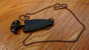 Necklace with Double Edge Cutter Dagger  Fixed Point Blade