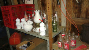 lots of cool antique bottles/milk glass and much much more