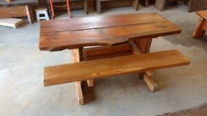 rustic pine benches and shelves