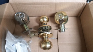 Two deadbolts and a door handle