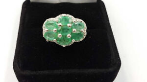 Sterling Silver Ring With 2.60ct Emeralds & 0.45ct White Topaz