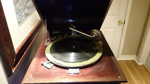 Rare! 1900's Columbia Grafonola Phonograph w/ Stand *WORKING*